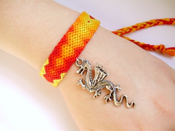 Dragon Flame Friendship Bracelet - Handmade Ombre Jewelry - Sale