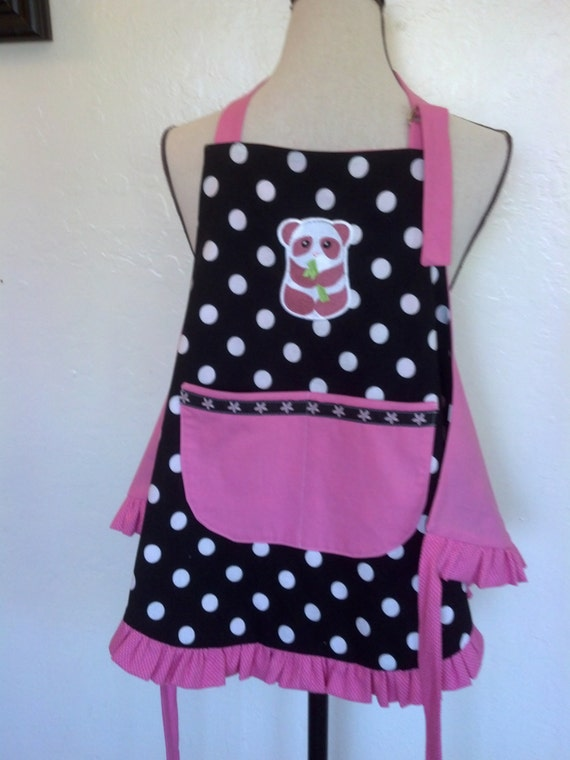 Sale Priced Children's Reversible Sassy Apron Pandas and Polka Dots