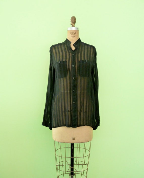90s Sheer Black Blouse Vertical Stripes Button Down Tunic Top S/M