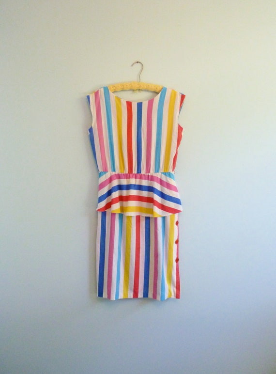 Bright Rainbow Stripe Carnival Dress Peplum Waist Vintage 80s M/L