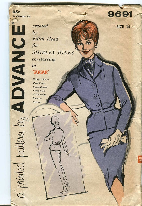 Advance pattern 2274 - Vintage Suit Pattern Designed by Edith Head for Shirley Jones in Pepe