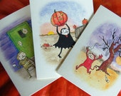 Halloween Cards - Naughty Trick or Treaters - Set of 3 greeting cards