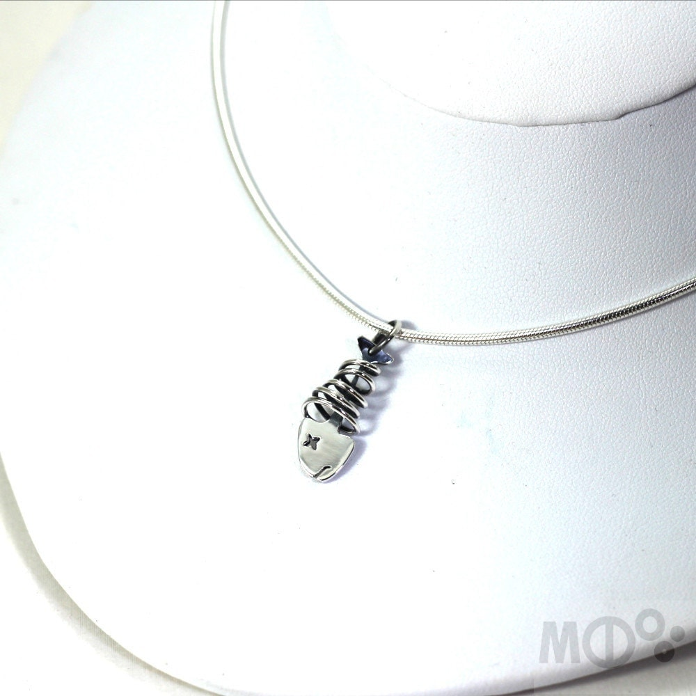 Small skeleton fish pendant in sterling silver small by for Small silver fish