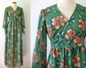1970s Maxi Dress Babydoll Empire Waist V Neck Green Floral Sheer ANGEL Sleeves Vintage 70s Hippie Festival Small Medium