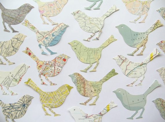 Paper Map Atlas Bird Shape Die Cuts - Vintage Old Paper - Map Birds - Paper Bird Shapes - Card Toppers - Paper Bird Die Cut Shape