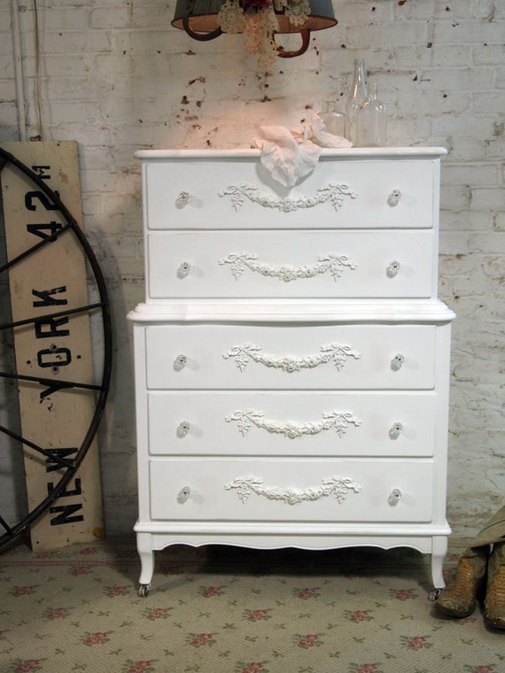 Painted Cottage Shabby White Romantic French Dresser CH358
