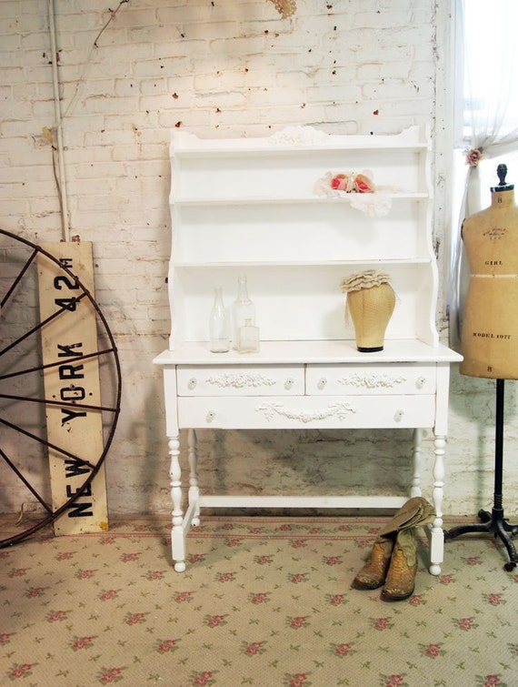 Painted Cottage Chic Shabby White Farmhouse Hutch CC354