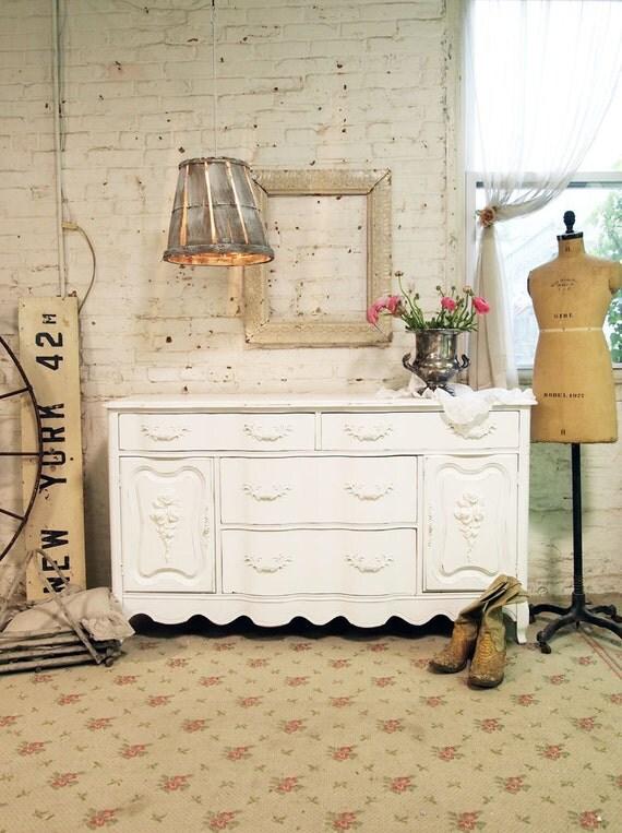 Painted Cottage Chic Shabby White Romantic Dresser / Server SV274