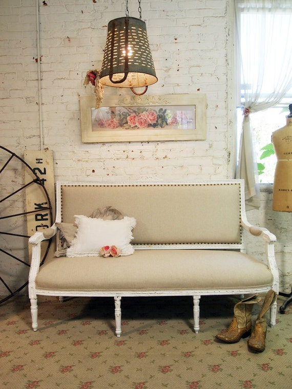 Painted Cottage Chic Shabby White Romantic French Louis Sofa CHR359