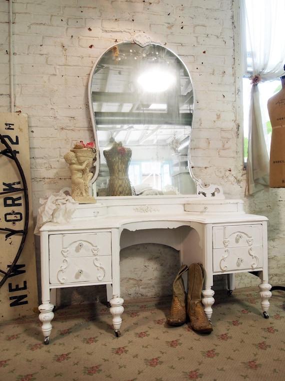 Painted Cottage Chic Shabby White French Vanity VAN244