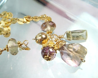 Metaphysical Gemstone Jewelry, AAA Ametrine, Citrine, Gemstone Charms, Gold Bracelet, Disc Chain, Magick, Magik Jewelry, Crystal Healing