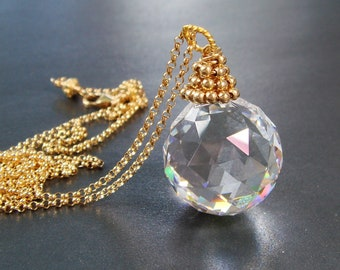 Crystal Ball Necklace, Swarovski Suncatcher Prism, Crystal Pendant Necklace, Magic Jewelry Magick, Metaphysical Jewelry, MADE TO ORDER