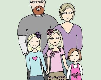 Custom Cartoon Portrait- Family Portrait- Illustration- digital file- 3-5 people