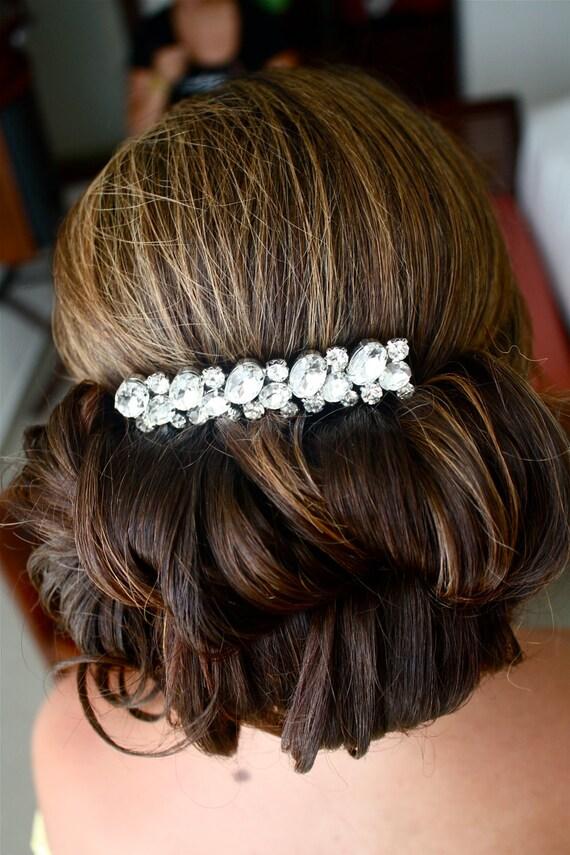 BRIDAL - Wedding Hair Comb, Accessories, White, Rhinestones, Crystal, Swarovski, Czech crystal - Style 28