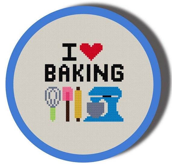 I Heart Baking Cross Stitch Pattern PDF