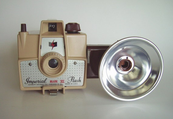 Vintage Imperial Mark XII Flash Camera - Tan Body with Brown Strap and Brown Plastic Flash Attachment - Very Clean