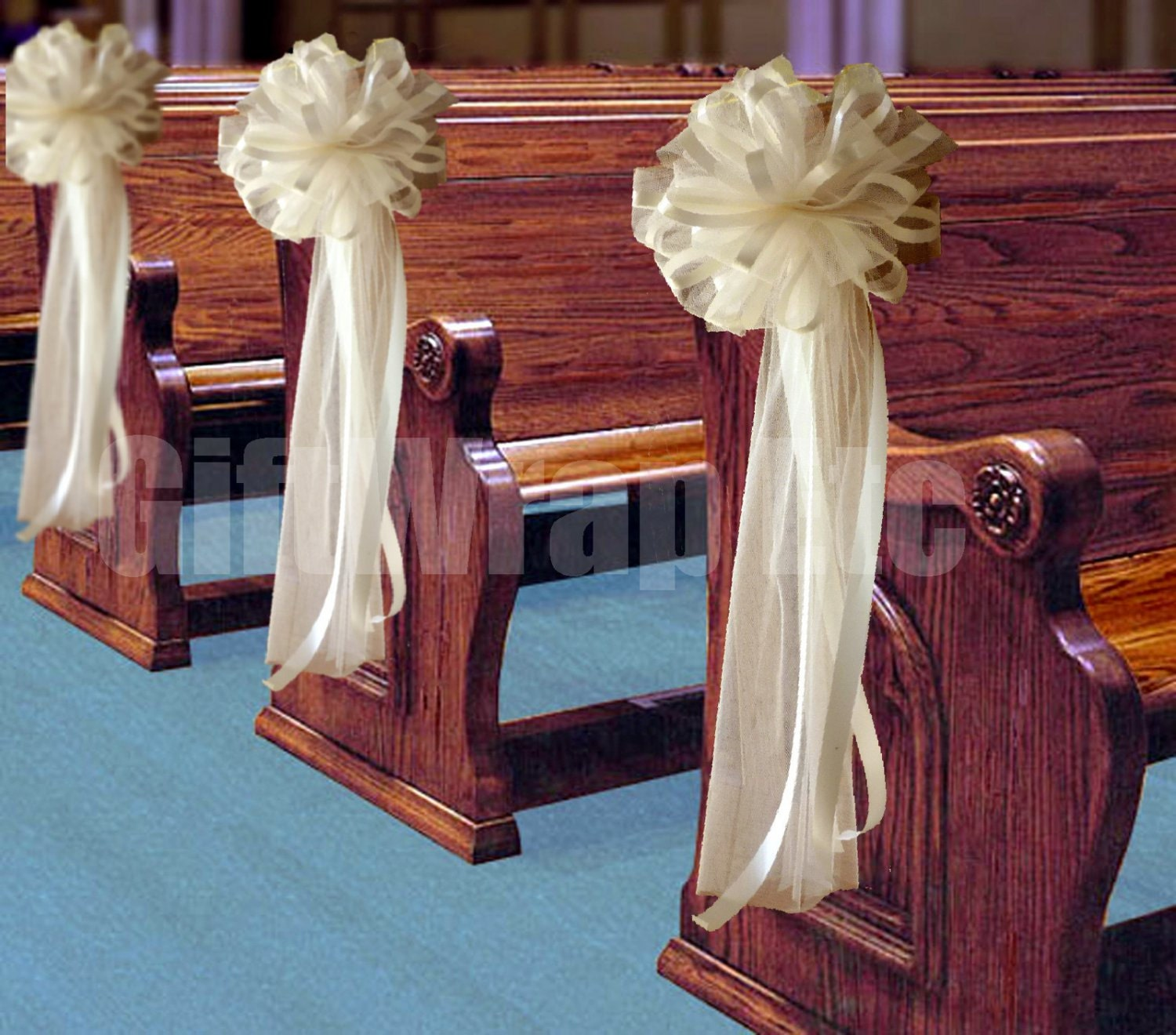 1000 images about pew decorations on pinterest church for Church wedding decorations
