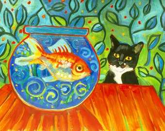 Desire - Tuxedo Cat and a Fishbowl Free Shipping USA