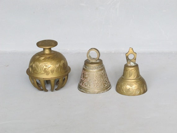 Vintage Brass Bell Set of 3 / Ornamental Etched Bells, Unusual Claw Bell, Elephant Claw Bell, Altered Art, Instant Collection, Folk Art