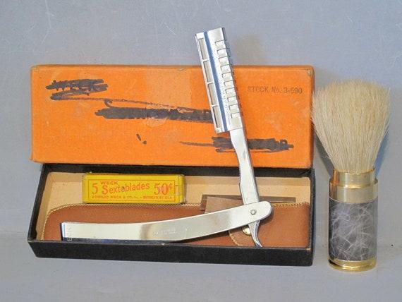 Vintage Shaving Set / Weck Sextoblade Straight Razor, Leather Case, Shaving Brush with Animal Hair Bristles, Box with 5 Blades, Shavette USA