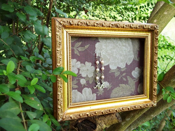 RESERVED-Shabby Chic picture frame earring display