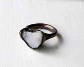 Geode Ring Druzy Copper Agate Gem Stone Frost Sugared White Patina Artisan Handmade