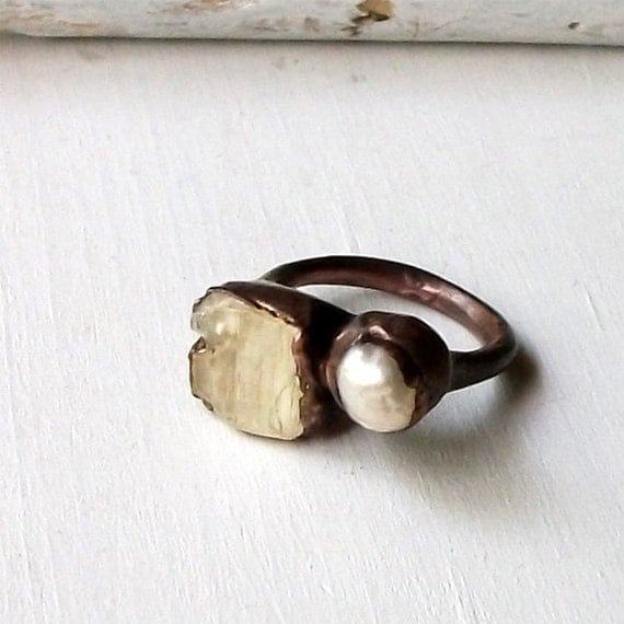 Copper Ring Pearl Scapolite Pale Yellow Gem Stone Natural Raw Patina Artisan