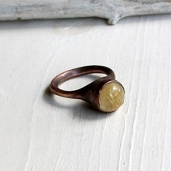 Quartz Ring Copper Ring Stone Ring Gemstone Ring Rutile Gold Ring Artisan Handmade