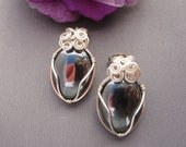 Wire Wrapped Hematite and Silver Earrings