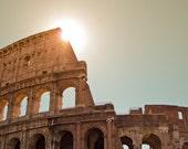 Rome Colosseum - 8x12 Roma Italy ancient rome fine art photography home decor brown creamy colours morning light sun summer haze