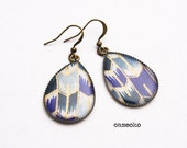 Chevron Blue and Gold Chiyogami Paper Teardrop Earrings on Bronze