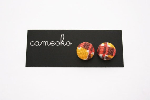 Vintage Feedsack Fabric Button Earrings