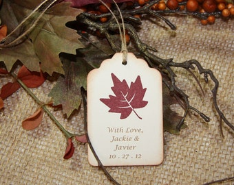 Rustic Leaf Wedding Tags, Fall Wedding Tags - Personalized set of 50