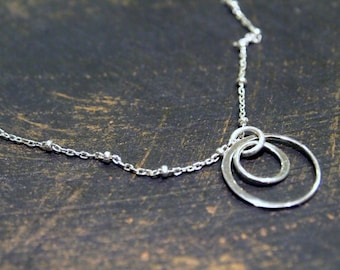 Asymmetric Circles Charm Necklace, Two Silver Circles Necklace, Short Silver Necklace