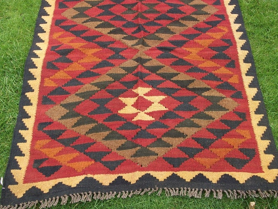 Traditional Maimana Hand woven Rug/Kilim Runner from Afghanistan.