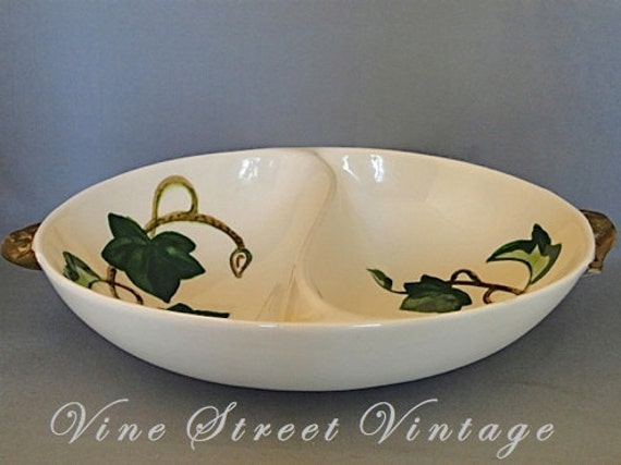Vintage Metlox Poppytrail Ivy California Pottery Divided Vegetable Serving Dish