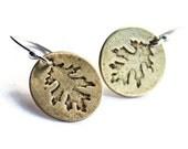 Brass Oak Leaf Disc Earrings
