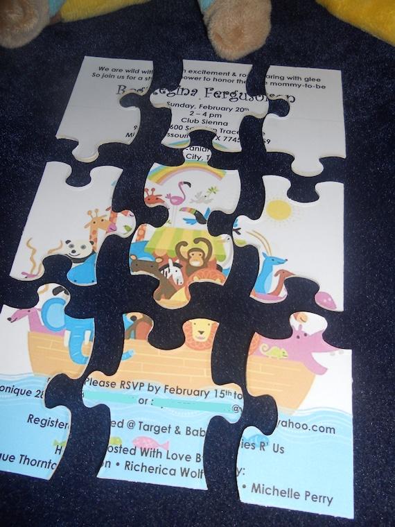 Jungle Puzzle Invitation - RESERVED for Latoya Fontenot - Qty 45