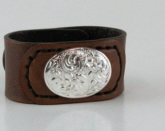 Leather Cuff Ready to Ship Flower Concho Floral Concho Silver Tone Leather Bracelet Ladies Small Cowgirl Cuff Western Cuff Brown Leather