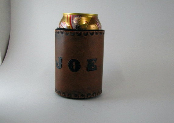 Your Own Custom Leather Koozie Personalized Made to Order