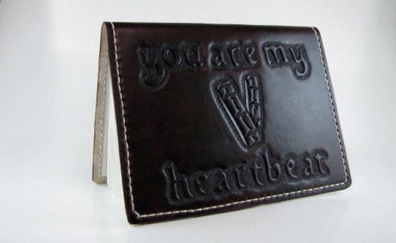 Leather Wedding Photo Album Anniversary Album you are my heartbeat EKG