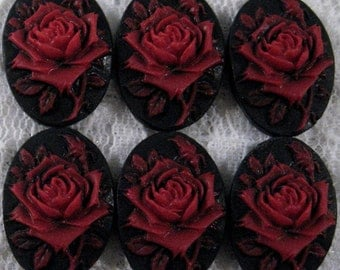 18x13mm - Red/Black - Rose Solitaire Cameo - 6 pcs : sku 06.08.12.15 - Q9
