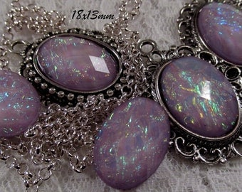 18x13mm - Lilac Opal - Faceted Acrylic Cabochon - 5 pcs : sku 11.24.12.12 - E21