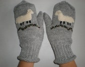 Hand-knitted light grey women gloves with hand needlecrafted furry sheep