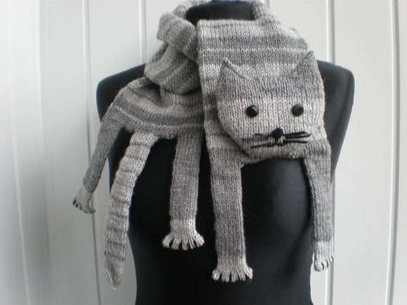 Hand-knitted grey cat scarf