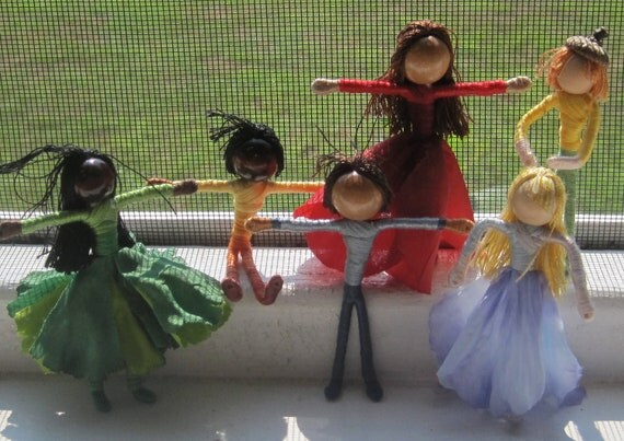 Flower Fairies and elves, ornaments, Flower fairy dolls - custom order - set of 6