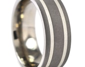 New Comfort Fit 8mm Titanium Ring with Sterling Silver Inlay