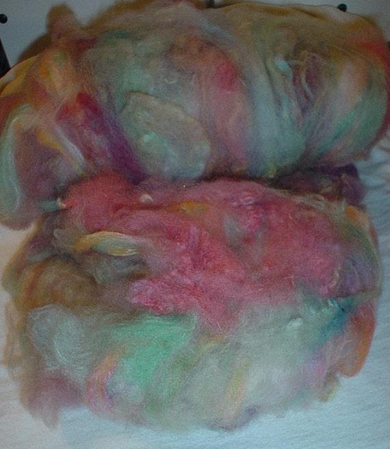 Batt - CatBatt - Rainbow Sherbet Wool Spinning or Felting Batt - 2.6 oz.