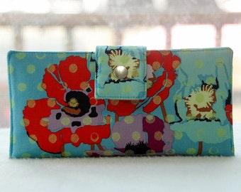 Women's wallet-vegan wallet-floral wallet-gift for mom-gift for wife-wallet for women-checkbook wallet-credit card organizer