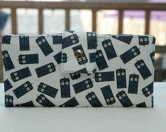 Women's Wallet police call boxes custom handmade vegan wallet cotton blue